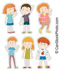 Sticker set of happy children