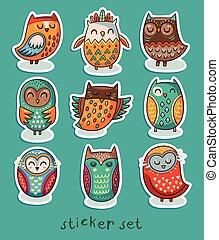 Sticker set of owls