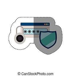 sticker set of padlock and password text box with shield