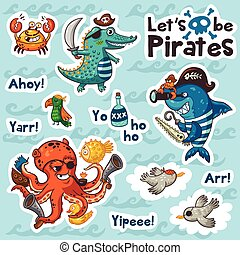 Sticker set of underwater pirates in cartoon style
