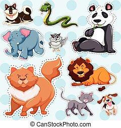 Sticker set of wild animals on blue background