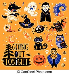 Sticker set with cartoon characters and elements for Halloween