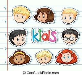 Sticker set with children faces