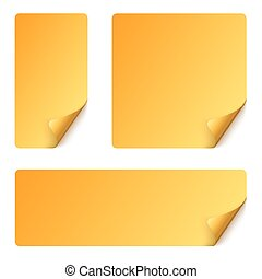 Sticker set with curved corner - yellow