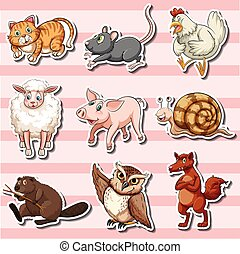 Sticker set with cute animals on pink background
