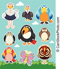 Sticker set with different types of birds