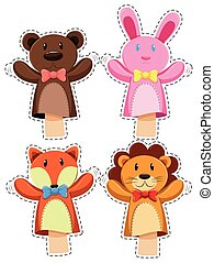 Sticker set with hand puppets