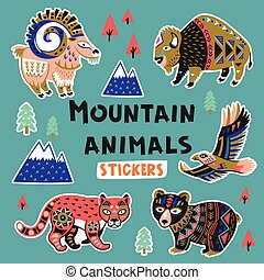 Sticker set with mountain animals