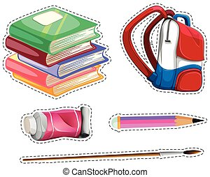Sticker set with school equipment