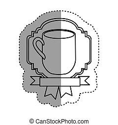 sticker shading silhouette border heraldic decorative ribbon with big mug with handle