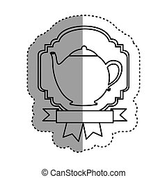 sticker shading silhouette border heraldic decorative ribbon with teapot