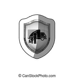 sticker shield with logistic assistant with shipping truck