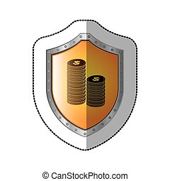 sticker shield with silhouette stacked coins with dollar symbol