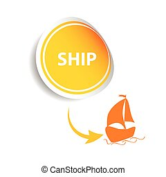 sticker ship orange vector