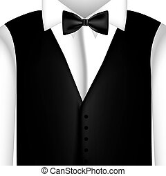 sticker shirt with bow tie and waistcoat