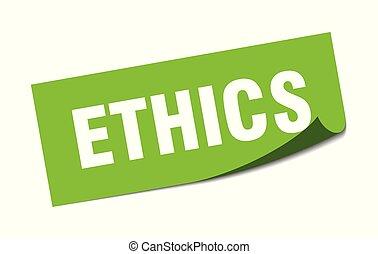 sticker., signo., aislado, éticas, cuadrado