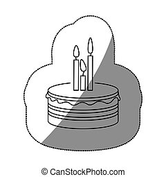sticker silhouette birthday cake with candles