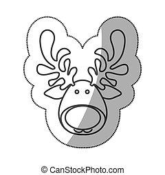 sticker silhouette cartoon funny face reindeer animal