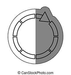 sticker silhouette circular arrow icon