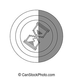 sticker silhouette circular frame with pixelated hourglass pc icon