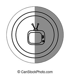 sticker silhouette circular frame with silhouette antique tv