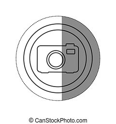 sticker silhouette circular frame with tech camera icon