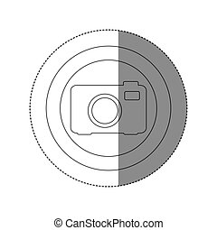 sticker silhouette circular frame with tech camera