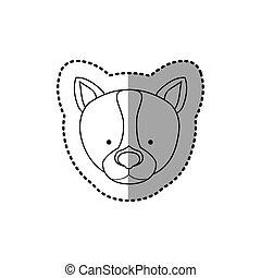 sticker silhouette close up husky dog animal