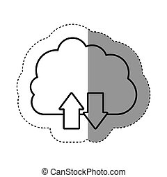 sticker silhouette cloud with arrows in opposite direction
