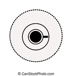 sticker silhouette coffee cup top view drink icon