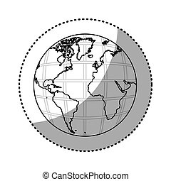 sticker silhouette earth world map with continents in 3d