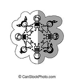 sticker silhouette group cartoon children holding hands