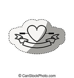 sticker silhouette heart crossed by arrow and label