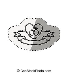 sticker silhouette heart crossed by arrow and rings engagement