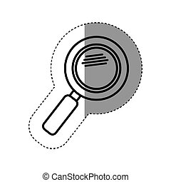 sticker silhouette magnifying glass with with glitters