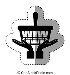 sticker silhouette monochrome with shopping basket