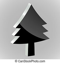 Sticker silhouette of a Christmas tree on grey background
