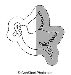 sticker silhouette pigeon wiht ribbon of breast cancer in the peak