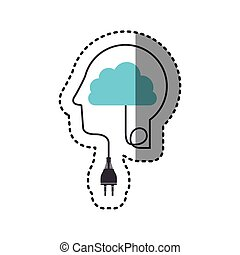 sticker silhouette profile human head with plug connector and cloud