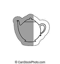 sticker silhouette teapot icon drink