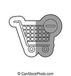 sticker silhouette with shopping cart and minus sign