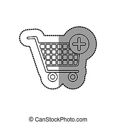 sticker silhouette with shopping cart and plus sign