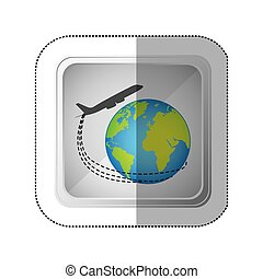 sticker silver square button with airplane around earth world