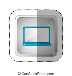 sticker silver square button with blue tech laptop