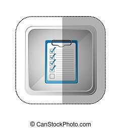 sticker silver square button with table notepad with check list