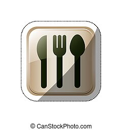 sticker square button set collection cutlery