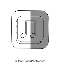 sticker square silhouette button with contour musical note