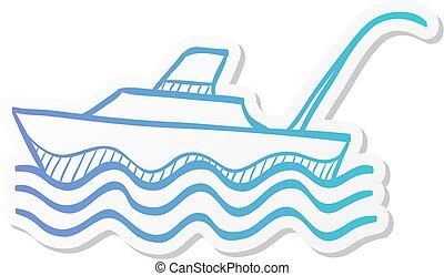 Sticker style icon - Fishing boat