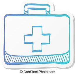 Medical case icon in sticker color style. Health care equipment storage