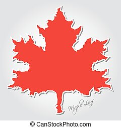 sticker - stylized red maple leaf